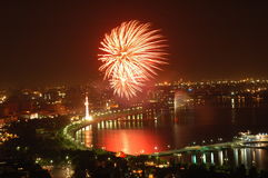 Fireworks on Independence Day. In Baku, Azerbaijan Royalty Free Stock Photo