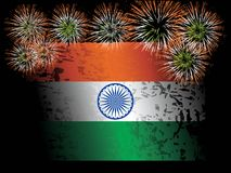 Fireworks with indian flag isolated on black Stock Photos