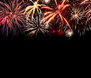 Fireworks background isolated on black stock photo