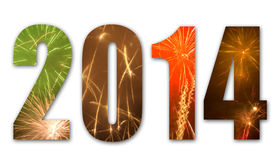 2014 fireworks. Isolated 2014 with colorful fireworks stock illustration