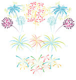 Fireworks isolated colorful illustration. Illustration of various colorful fireworks Royalty Free Stock Photos