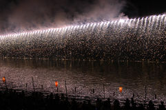 Fireworks in Japan. Beautiful fireworks on river in Japan Royalty Free Stock Image