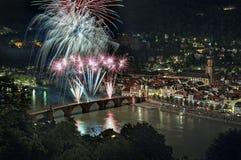 Fireworks at Karl Theodor Bridge in Heidelberg, Germany Royalty Free Stock Photography