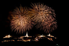 Fireworks at Khao Wang Phetchaburi,Thailand Stock Photos