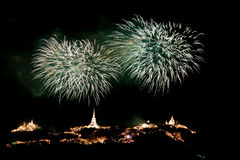 Fireworks at Khao Wang Phetchaburi,Thailand Royalty Free Stock Images