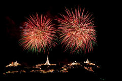 Fireworks at Khao Wang Phetchaburi,Thailand Stock Images