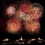 Fireworks at Khao Wang Phetchaburi,Thailand Stock Image