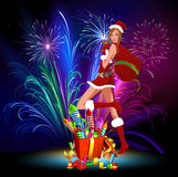 Fireworks from a lady Santa Claus. Lady Santa Claus with a bag of gifts. Lady Santa with fireworks. At Christmas fireworks from Lady Santa Royalty Free Stock Image