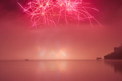 Fireworks on lake Stock Image
