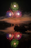 Fireworks lake royalty free stock image