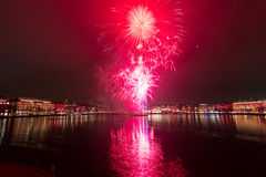 Fireworks. At the lake Binnenalster in Hamburg royalty free stock photos