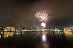 Fireworks. At the lake Binnenalster in Hamburg stock images
