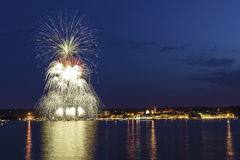 Fireworks on the Lake Maggiore, Arona Royalty Free Stock Image