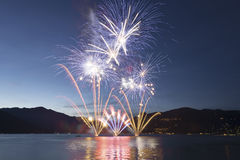 Fireworks on the Lake Maggiore, Luino Royalty Free Stock Image