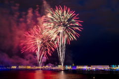 The fireworks and a laser show in the waters of the Neva River i Stock Photography