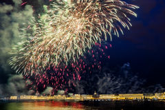 The fireworks and a laser show in the waters of the Neva River i Royalty Free Stock Images