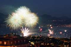 Fireworks in Lausanne, Switzerland. On August 1st 2013, the Swiss National Day Stock Photo