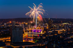 Fireworks in Liège. Annual fireworks in the city of Liege, Belgium Stock Image