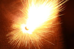 Fireworks light the beautiful decay. A beautiful fireworks in the night Stock Photo