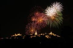Fireworks. Light night Thailand travel Phetchaburi royalty free stock photo