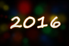 Fireworks light shaped numbers 2016. Image of fireworks light with bokeh background shaped numbers 2016. New year concept vector illustration