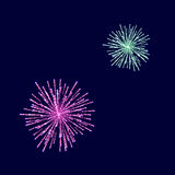 Fireworks Light up the Sky. On Blue Background Stock Photography