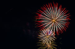Fireworks light up the sky for celebration. Vivide bright fireworks against black sky. Copy space on the left side Stock Photography