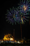 Fireworks light up the sky with dazzling display. Stock Images