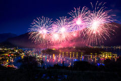 Fireworks light up the sky with dazzling display Royalty Free Stock Images