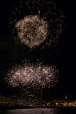 Fireworks light up the sky with dazzling display in Palamos, tow Royalty Free Stock Photo