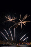 Fireworks light up the sky with dazzling display in Palamos, tow Royalty Free Stock Photos