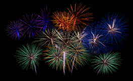 Fireworks light up the sky,Five Fireworks Stock Images
