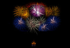 Fireworks light up the sky,Five Fireworks Royalty Free Stock Photography