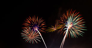 Fireworks light up the sky. At night Royalty Free Stock Photos