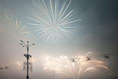 Fireworks light up in the sky Stock Photos