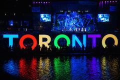 Fireworks light up toronto sky, Pan Am Games closing ceremonies. Dazzling fireworks display at city hall and cn tower in Toronto, on closing ceremonies of Pan Am Royalty Free Stock Photo