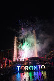 Fireworks light up toronto sky, Pan Am Games closing ceremonies Royalty Free Stock Photography