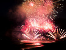 Fireworks lighting the water from Forte dei Marmi's Pier Royalty Free Stock Image