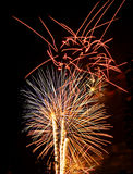 Fireworks Lights Explosions red white blue. Fireworks display Lights Explosions red white blue Stock Images