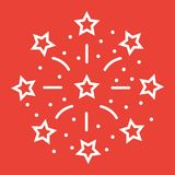 Fireworks line icon, New year and Christmas. Xmas sign vector graphics, a linear pattern on a red background, eps 10 Royalty Free Stock Photos