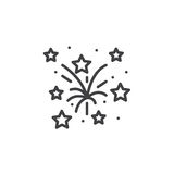 Fireworks line icon, outline vector sign, linear pictogram isola. Ted on white. logo illustration Royalty Free Stock Image