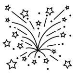 Fireworks line icon, outline vector sign, linear pictogram isolated on white. logo illustration.  royalty free illustration