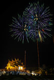 Fireworks lit up the sky brilliant colors. Royalty Free Stock Photo