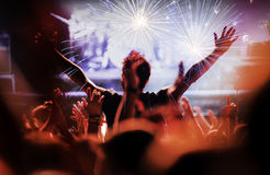 Fireworks at a live concert. Royalty Free Stock Photos