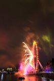 Fireworks at London eye Stock Images