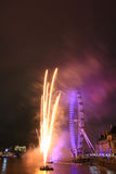 Fireworks at London eye Stock Image