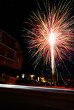 Fireworks Long Exposure Explosion Building Night Celebration Royalty Free Stock Photography