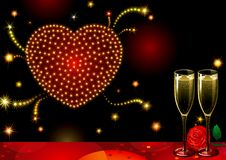 Fireworks of love. Vector Holiday background with two Champagne Flutes, many stars and heart at shape of fireworks on night dark sky Stock Photo