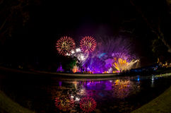 Fireworks in Loy Krathong. Stock Photo
