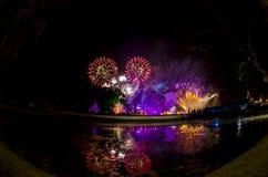 Fireworks in Loy Krathong. Stock Photo